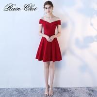 2019 New fashion vestido de noiva Short Wine Red Cocktail Dresses Sexy Off Shoulder Mini Party Dress