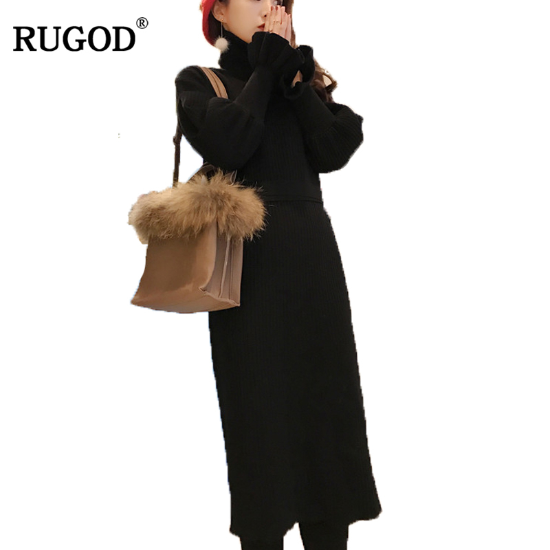 RUGOD New Removable Turtleneck Collar Knitted Sweater Dress Women Winter Warm Flare Sleeve Long Dress Female Elegant Vestidos new 2017 hats for women mix color cotton unisex men winter women fashion hip hop knitted warm hat female beanies cap6a03