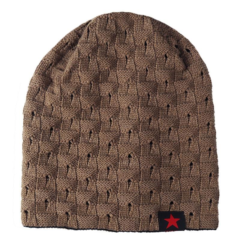 Skullies Winter Hat Beanies Knitted Cotto Hip Hop Stocking Hat Plus Velvet Rasta  Cap Star Bonnet 051c9df308e3