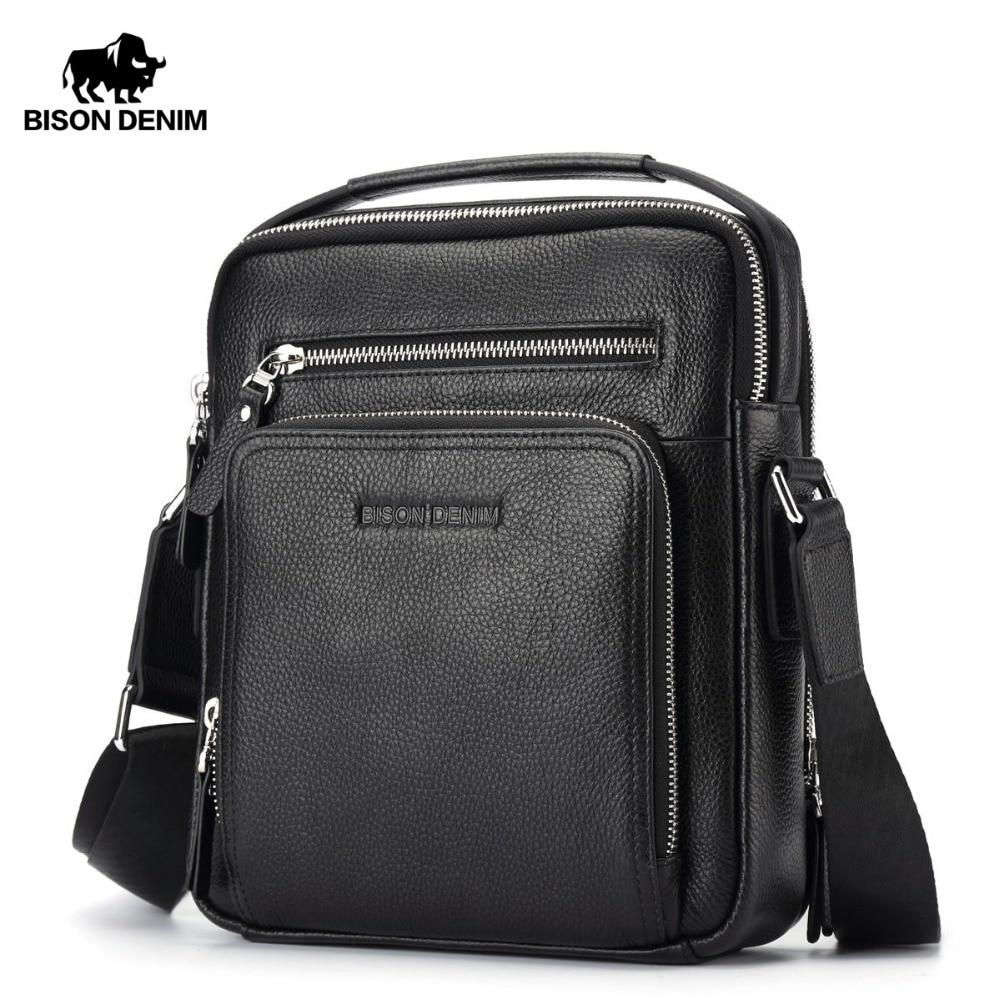 BISON DENIM جلد حقيقيّ رجل حقيبة عمل كتف Crossbody حقيبة هدايا عيد الميلاد مصمم حقائب عالية الجودة N2333-1 & 2