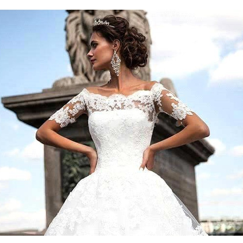 Robe mariage 2019 Elegant Boat Neck A Line Wedding Dress Plus size Short Sleeve Appliques Lace Wedding Gowns Vestido de novia in Wedding Dresses from Weddings Events
