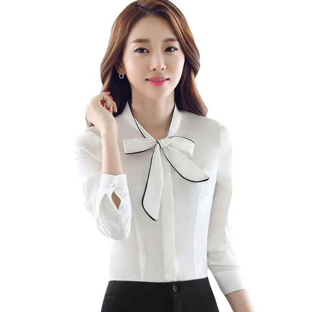 911ba3a46731 2017 Fashion Career Women Shirt Long Sleeve Bow tie Slim Elegant Business Chiffon  Blouse Office Ladies Plus Size Work Wear Tops