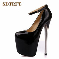 Crossdresser Plus:34 43 Spring/Autumn 22 19 16cm thin high heels sexy Patent Leather club pumps women wedding shoes Stilettos