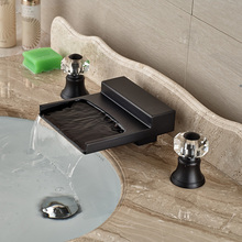 Oil Rubbed Bronze Luxury Deck Mount Waterfall Bathroom Sink Mixer Faucet Dual Cristal Handles