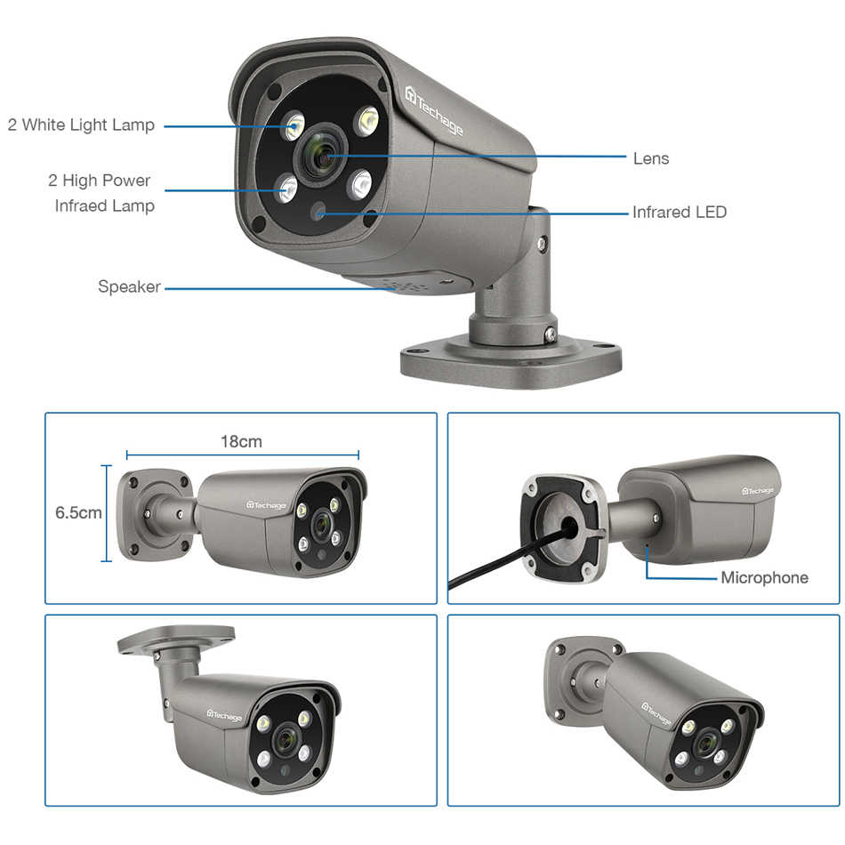 Techage H.265 8CH 5MP HD POE طقم NVR CCTV نظام الأمن اتجاهين الصوت AI IP كاميرا في الهواء الطلق P2P مجموعة مراقبة الفيديو 3 تيرا بايت HDD