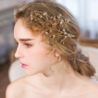 Elegant Wedding Bridal Hair Claws Jewelry Headwear Accessories Gold Color European Design Headpiece For Women Prom