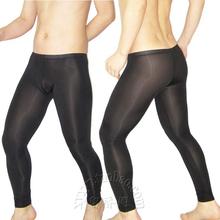 Sexy gejów egzotyczne bielizna prezerwatywy mężczyzna przezroczyste wysoka elastyczna kostki spodnie przezroczyste tanie tanio Mężczyźni Long Johns Poliester mieszanki XL08893 LinvMe