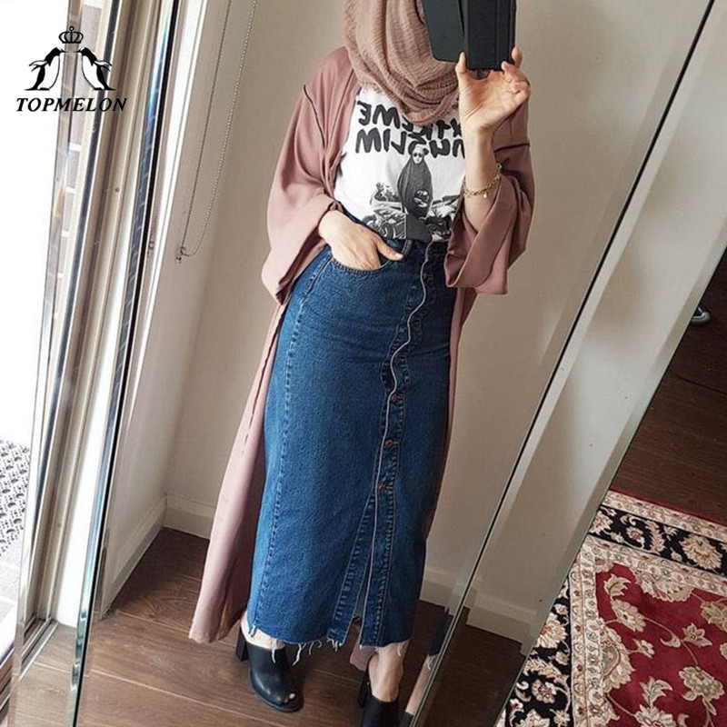 TOPMELON Muslim Women Skirt Blue Slimming Clothing Denim Jeans Skirts Long Buttons Decorated Bottoms Plus Size