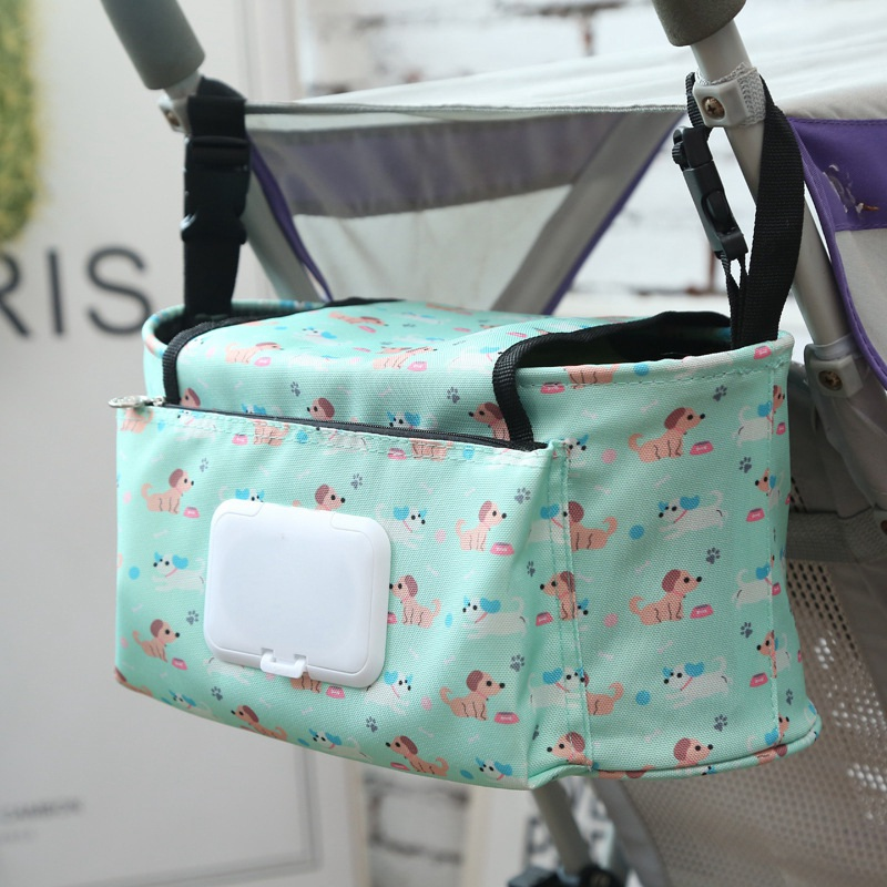 Baby Carriage Hanging Storage Bag Baby Stroller Organizer Folding Mummy Diaper Bag Hook Cartoon Flower Elephant Travel Bag 2019