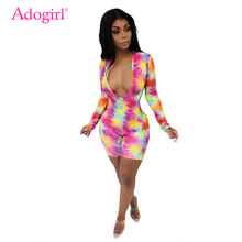 Adogirl Tie Dye Print Women Sexy Jumpsuit Deep V Neck Long Sleeve Shorts Romper Night Club Party Playsuits Casual Bodysuits набор надфилей jtc 215мм 5шт jtc 5636