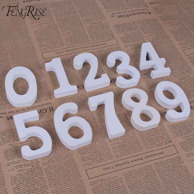 Fengrise wooden number letters white wood alphabet wedding for Table numbers