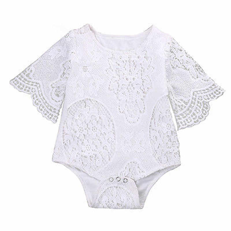 Lovely Baby Girl Bodysuits White Ruffles Sleeve Bodysuit Cute Infant Baby Girl Lace Jumpsuit One Piece Clothes Sunsuit Outfits