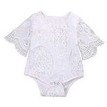 Lovely Baby Girl Bodysuits White Ruffles Sleeve Bodysuit Cute Infant Baby Girl Lace Jumpsuit One Piece Clothes Sunsuit Outfits(China)