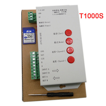 Светодиодный T1000S 128 SD карты контроллер пикселей, DC5 ~ 24 V, для WS2801 WS2811 WS2812B LPD6803 светодиодный 2048 светодиодные полосы света светодиодные лампы