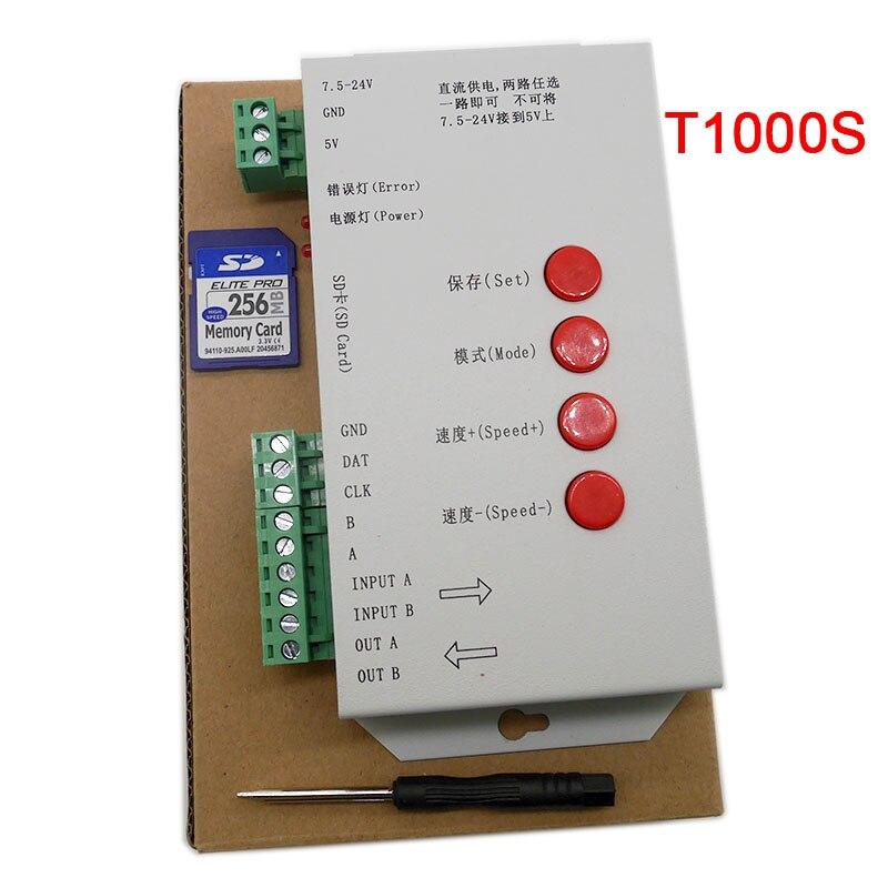 LED T1000S 128 SD Tarjeta de píxeles controlador DC5 ~ 24 V para WS2801 WS2811 WS2812B LPD6803 2048 LED lámpara de luz de tira