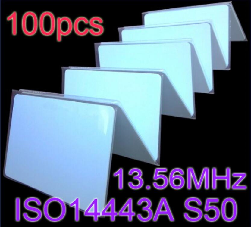 100pcs/Lot 13.56MHz RFID Card NFC Cards ISO14443A MF S50 Re-writable Proximity Smart Card 0.8mm Thin For Access Control 100pcs rfid tag 13 56mhz mif1 s50 key fobs re writable nfc tag for access control system