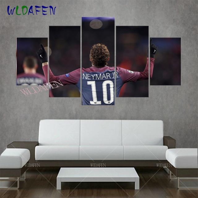 5 panel modern hd Neymar da Silva print canvas art wall framed ...
