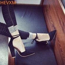 HEVXM Летние Новые Высокие Каблуки Женщины Сандалии Тенденции Моды Высокого качество Насосы Сексуальные Тонкие Пятки Воздуха Обувь Женщина размер Обуви 34-43