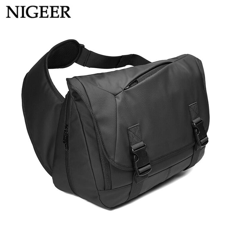 NIGEER Expansion Large Capacity Messenger Bags For Men 14.6 inch Laptop Shoulder Bag Black Casual Travel Chest Bags Male n1805 nigeer men chest bag casual shoulder