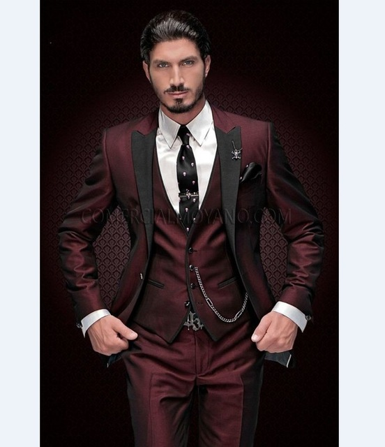 Groom Tuxedos Pants Blazer Men Suits Burgundy Lapel Wedding-Best Black Jacket Vest Man