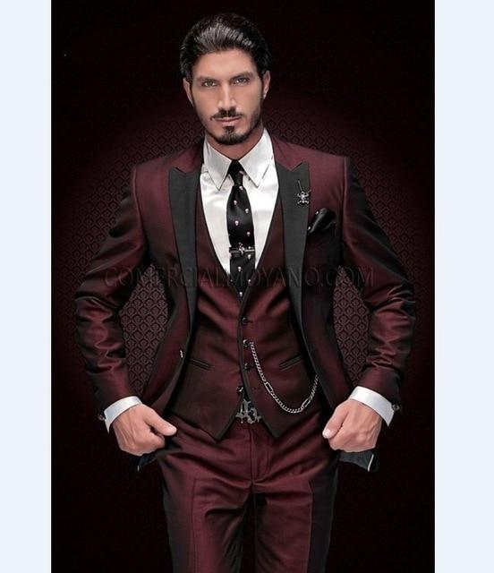 Burgundy Men Suits Vest Tuxedos Groom Lapel Wedding-Best Black Pants Jacket Blazer Man