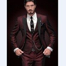 Новое поступление женихов мужские пиковые черные лацканы смокинг для жениха бордовый мужские костюмы Свадебный лучший мужской блейзер(пиджак+ брюки+ жилет