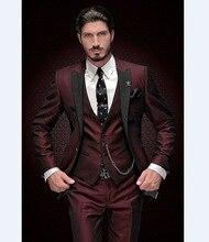 Новинка 2017, мужской пиковый смокинг для жениха бордовый с черными лацканами, мужские костюмы, Свадебный лучший мужской блейзер (пиджак + брюки + жилет)