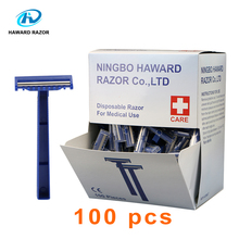 HAWARDมีดโกนขายส่ง 100PC Twin Bladeทางการแพทย์ทิ้งมีดโกนที่มีการรับรองCEโรงพยาบาลSkin PREPมีดโกนสำหรับกำจัดขน