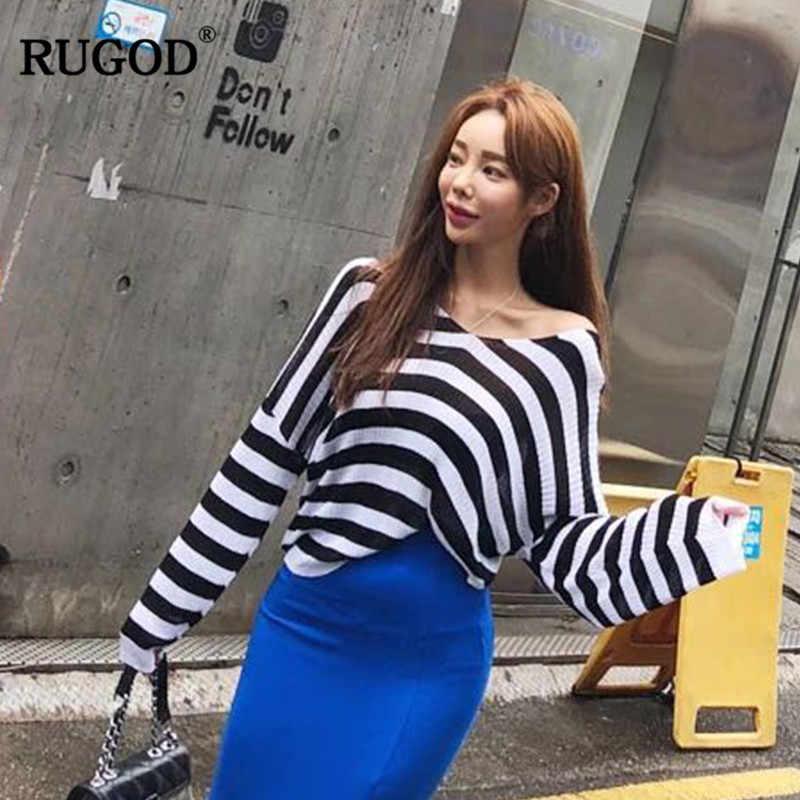 RUGOD 2018 полосатый кардиган Для женщин свитер Повседневное вязаный свитер носить на обе стороны одноцветное пальто элегантные женские кардиганы Для женщин