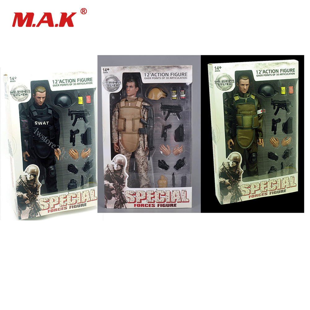 1/6 Scale Movable 3 Style 12 SWAT Black Uniform Military Army Combat Game Toys Soldier Set Action Figure Model Toys 1 6 military scale action figures doll set super flexible 12action figure doll desert sniper soldier plastic model toys