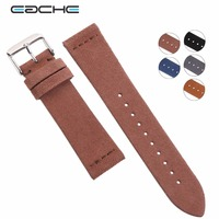 EACHE Suede Cowhide Leather Wathband With Sliver Buckle Light Brown Dark Brown Watch Straps 20mm 22mm