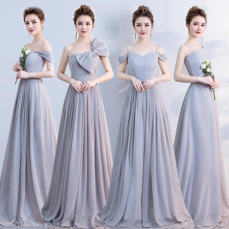 Elegant Grey Off The Shoulder Chiffon Lace Up   Bridesmaid     Dresses   Backless A-line Long Vestidos De Festa 2019 Wedding Party Gowns