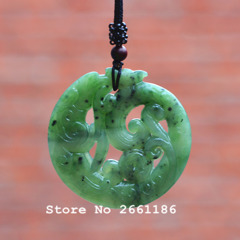 (Certificate) Natural Green HETIAN Jades Pendant 3D Carved Antique Chinese Dragon Pendant Necklace Men's Stone Jades Jewelry