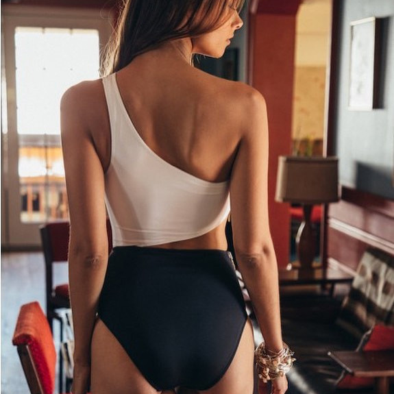 Black & White High Waisted One Shoulder Swimsuit 1
