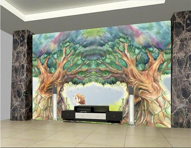 Boom In Woonkamer : 3d behang custom foto behang woonkamer muurschildering abstracte