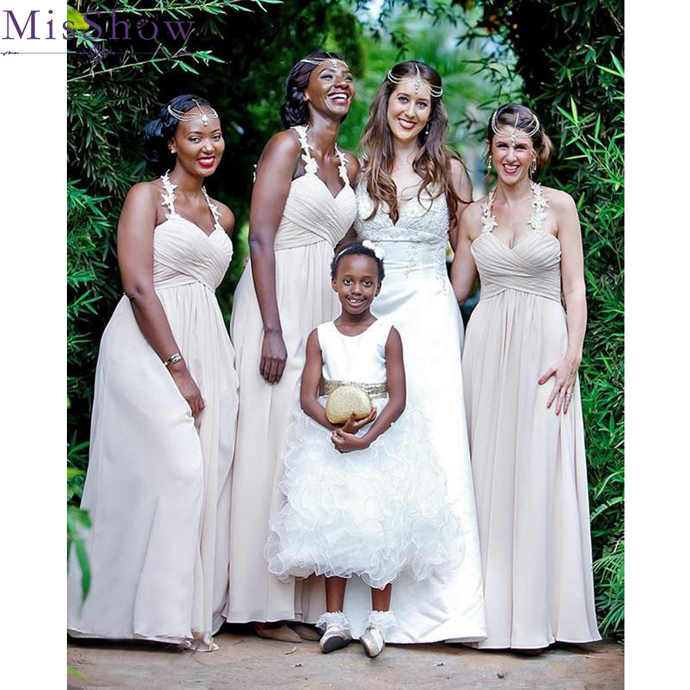 [Custom-made] A-Line   Bridesmaid     Dresses   2019 Sleeveless Sweetheart Chiffon Wedding Guest Maid Of Honor   Dress   Party For Women