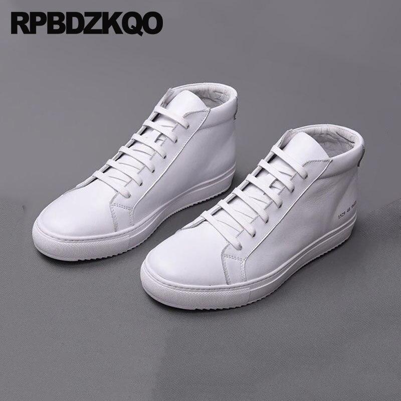 73c1ea2adb27e Real Zapatillas Superior Hip Lujo Genuino Blanco Calidad Casual Hombres  Negro Moda Planos blanco Alta Hop Skate 2018 Zapatos ...