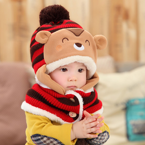 Unique nipple style baby 3D cap girl and boy best baby warm hat with scarf  set cute child winter hat kids hat baby beanie hats c5f56b86fef8