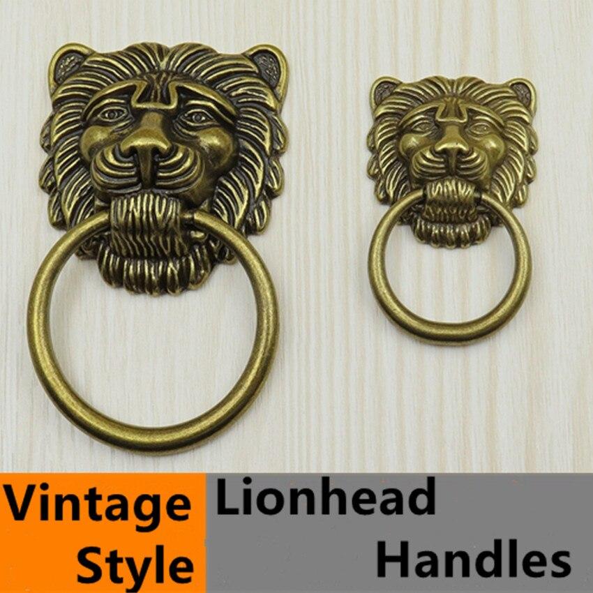 Vintage Style Bronze Lionhead Dresser Handles Knobs Antique Brass Large  Meatball Drawer Shoe Cabinet Knob Pull Handle Drop Rings