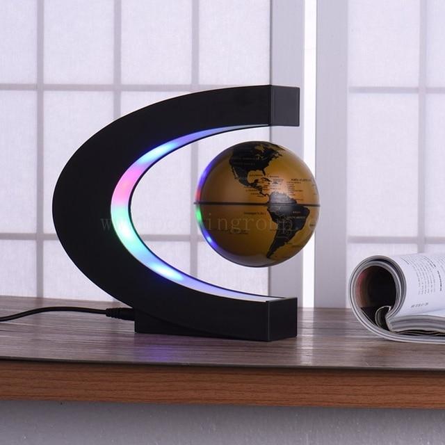 Globe deco flottant Tellurion Magnétique Lévitation Lumière Carte Du Monde Avec la Lumière 3