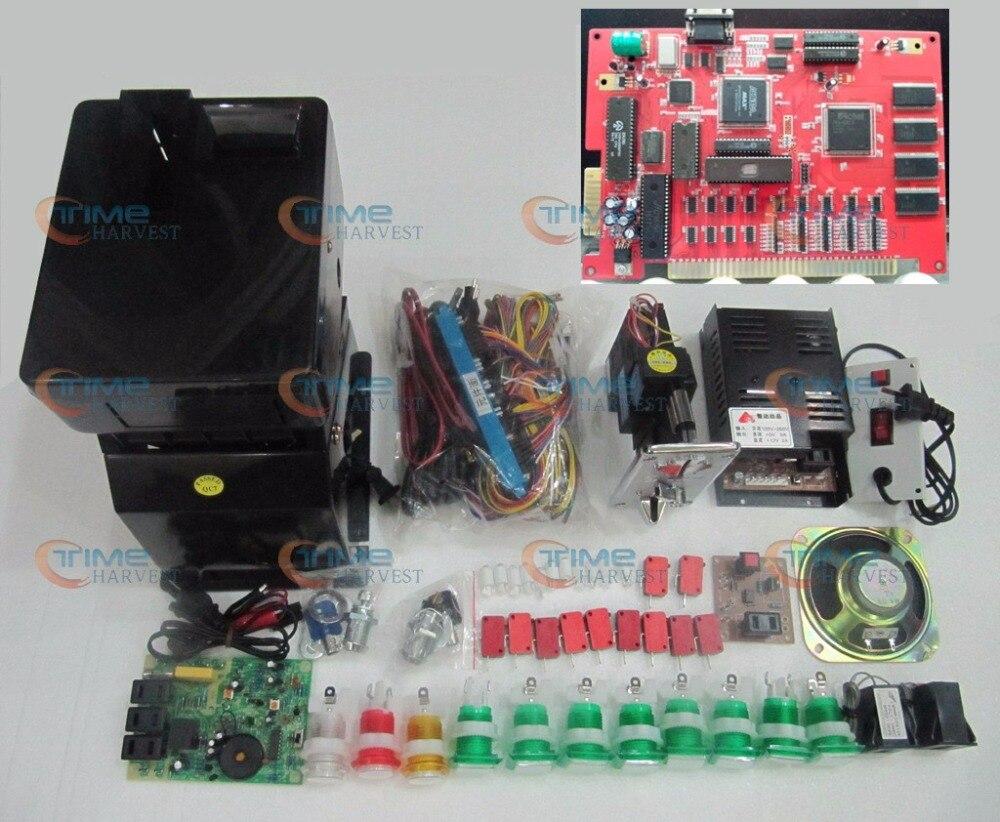 Kits de juego Solt con el arnés de botones aceptadores de monedas de Coinhopper de 7 en 1 PCB. Etc. para la máquina de juegos con ranura de casino igual que la foto