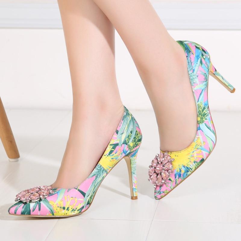 ФОТО Ladies Cotton Fabric Orginal Luxury Diamond Pointed toe Flowers Printed Plus size (4-12) High Heel shoes Women Pumps Stilettos