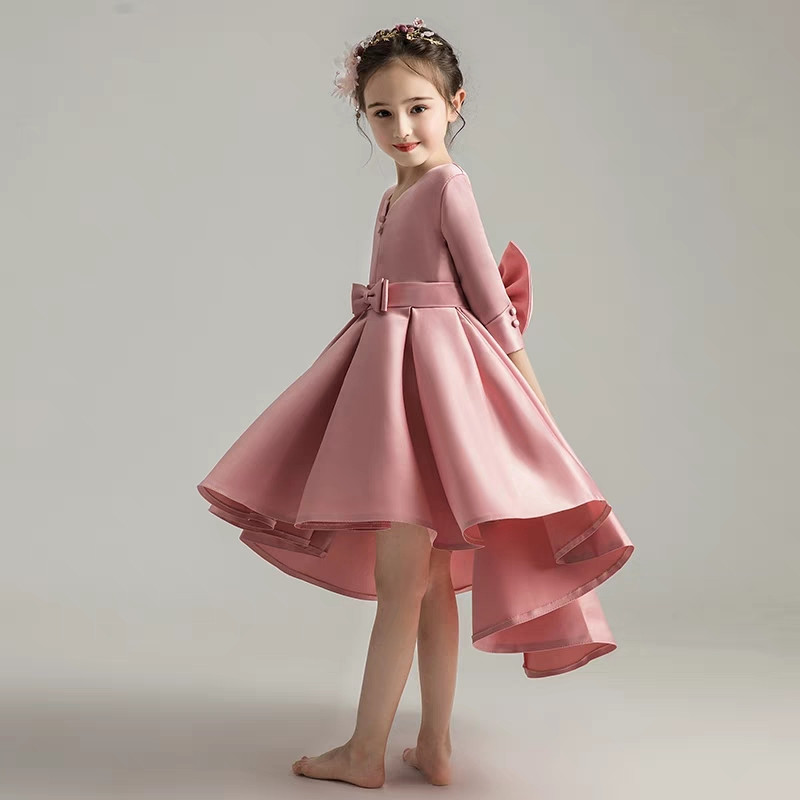 Autumn Winter New Children Girls Elegant Birthday Wedding Party Prom Dress Baby Kids Piano Performance Host Costume Tail Dress