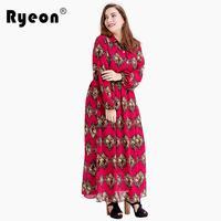Ryeon Boho Shirt Dresses Big Size Maxi Women Dress Hot Pink Casual Vintage Long Sleeve Office