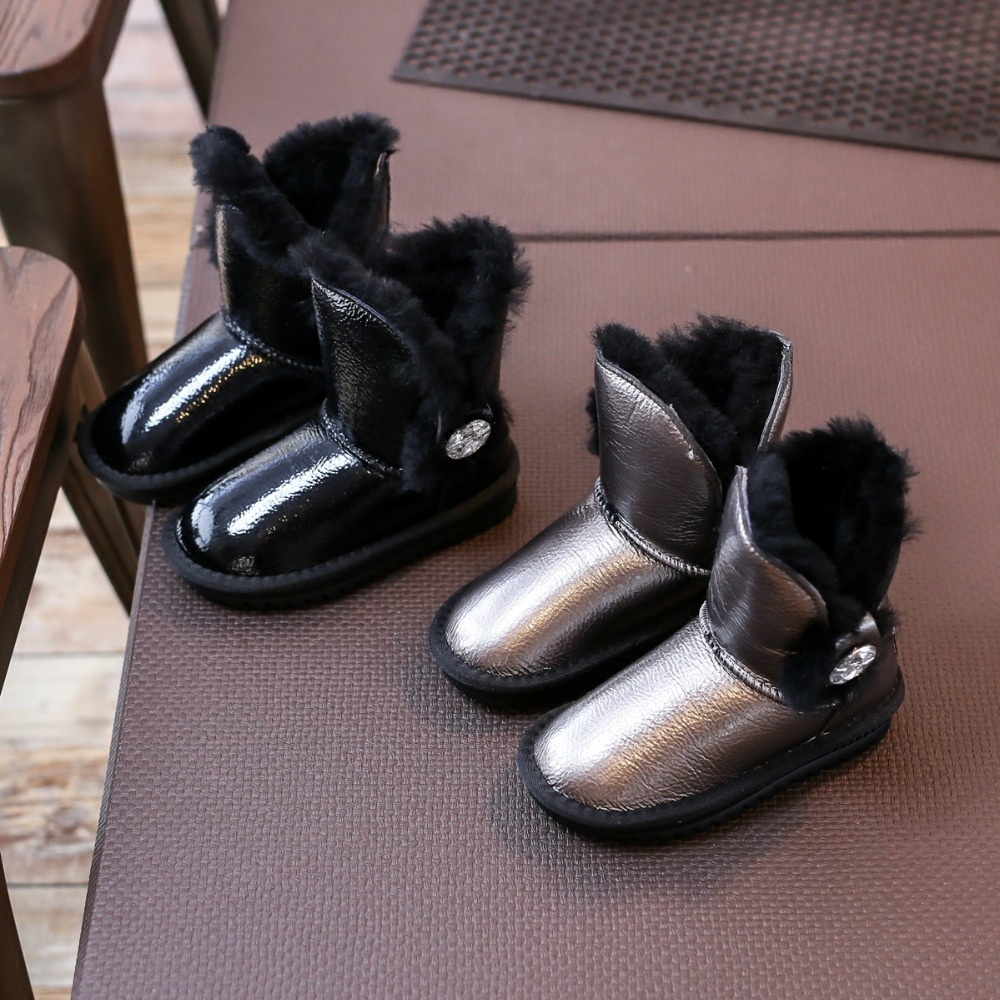 Genuine leather Nauhutu Australian boots snow winter warm footwear kids children fur shoes crystal rhinestone decoration