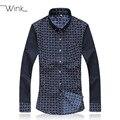 Homens xadrez ponto de manga comprida blusa marca Designer Slim Fit camisas de vestido dos homens Plus Size azul marinho preto 5XL 6XL 7XL J021