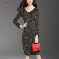 HANZANGL Autumn Winter Womens Elegant Long Sleeve V Neck Bright Silk Dress Lady Office Casual Party