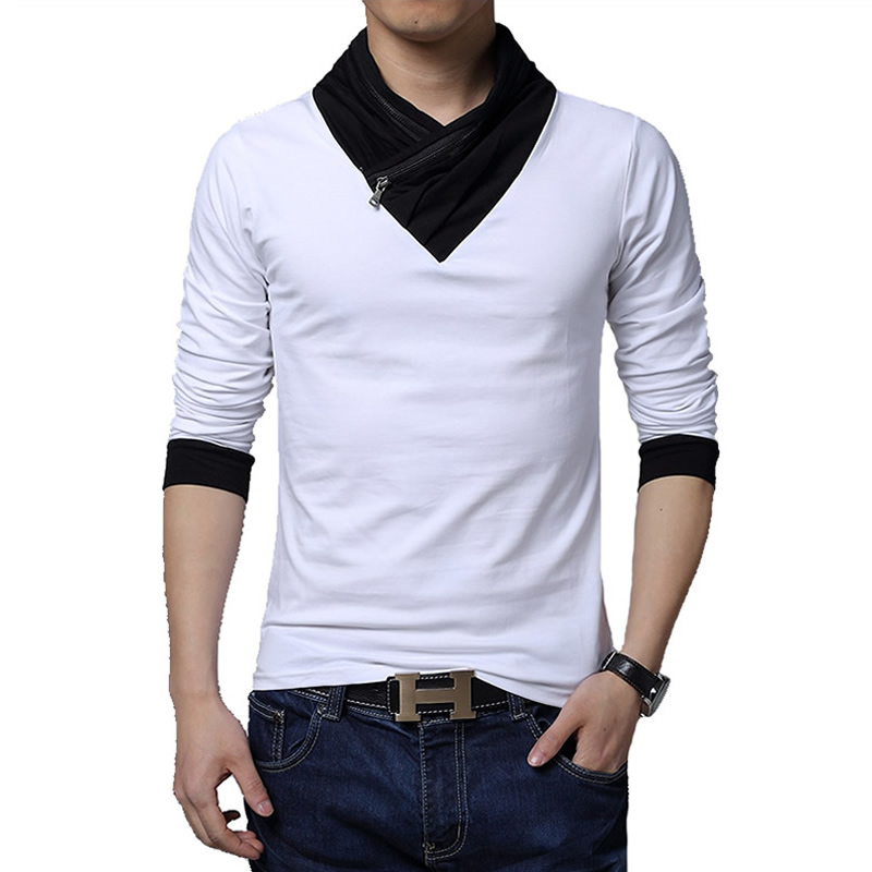 5xl new fashion slim fit long sleeve t shirt men casual Mens long sleeve white t shirt