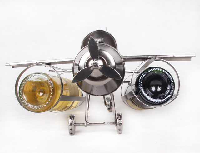 creative handmade iron art airplane model wine bottle