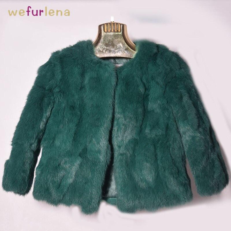 Solid Real Rabbit Fur Coat Women O-Neck Fashion Natural Rabbit Fur Coat Winter Female Genuine Fur Coat Girls Short Style Jackets